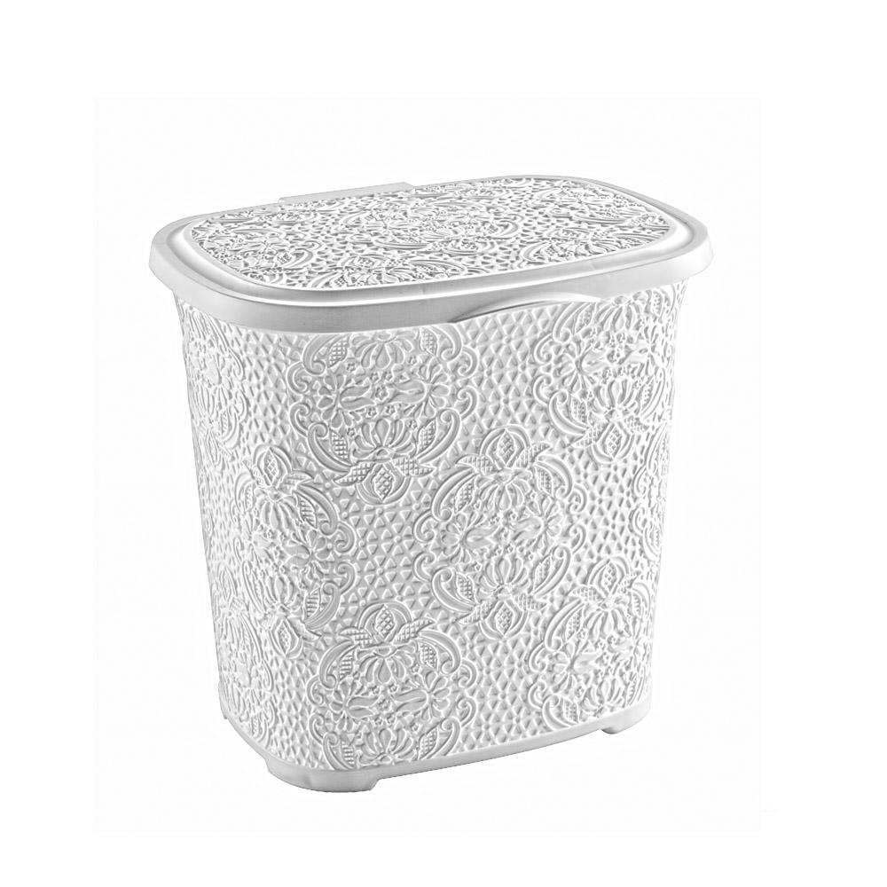 waschmittelbox madeline wei mit ornamentmuster box mit klappdeckel. Black Bedroom Furniture Sets. Home Design Ideas