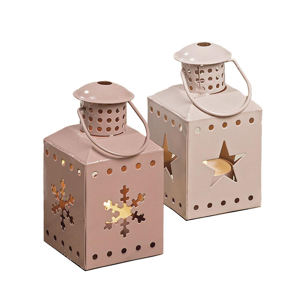 2tlg set mini laterne weihnachten aus metall rosa mit schneeflocke und stern. Black Bedroom Furniture Sets. Home Design Ideas