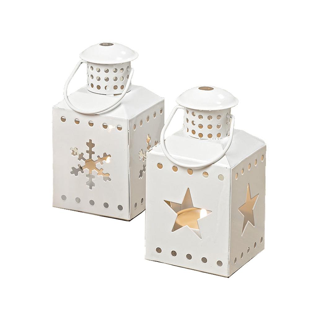 2tlg set mini laterne weihnachten aus metall weiss mit schneeflocke und stern. Black Bedroom Furniture Sets. Home Design Ideas