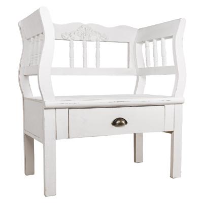 Sitzbank SHABBY weiß mit Ornament Holzbank für eine Person 1er Bank Landhaus