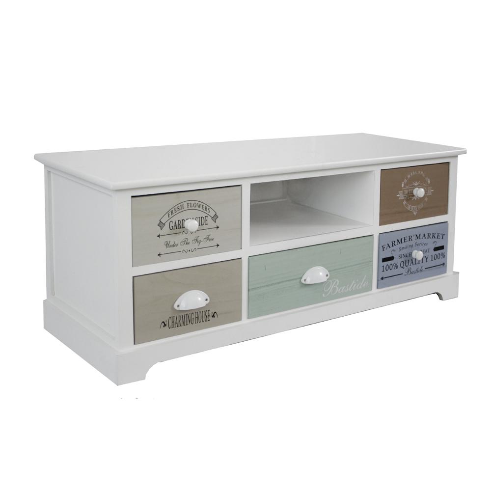 tv board bastide mit 5 schubladen fernsehtisch mit vintage. Black Bedroom Furniture Sets. Home Design Ideas