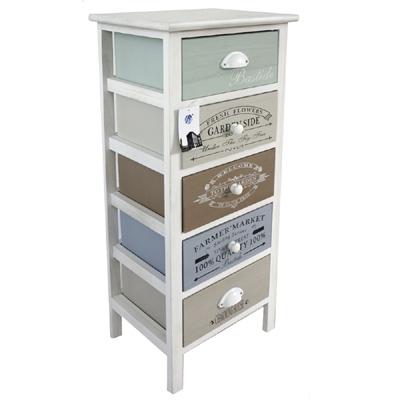 kommode bastide mit 5 schubladen in verschiedenen farben mit vintage schrift. Black Bedroom Furniture Sets. Home Design Ideas