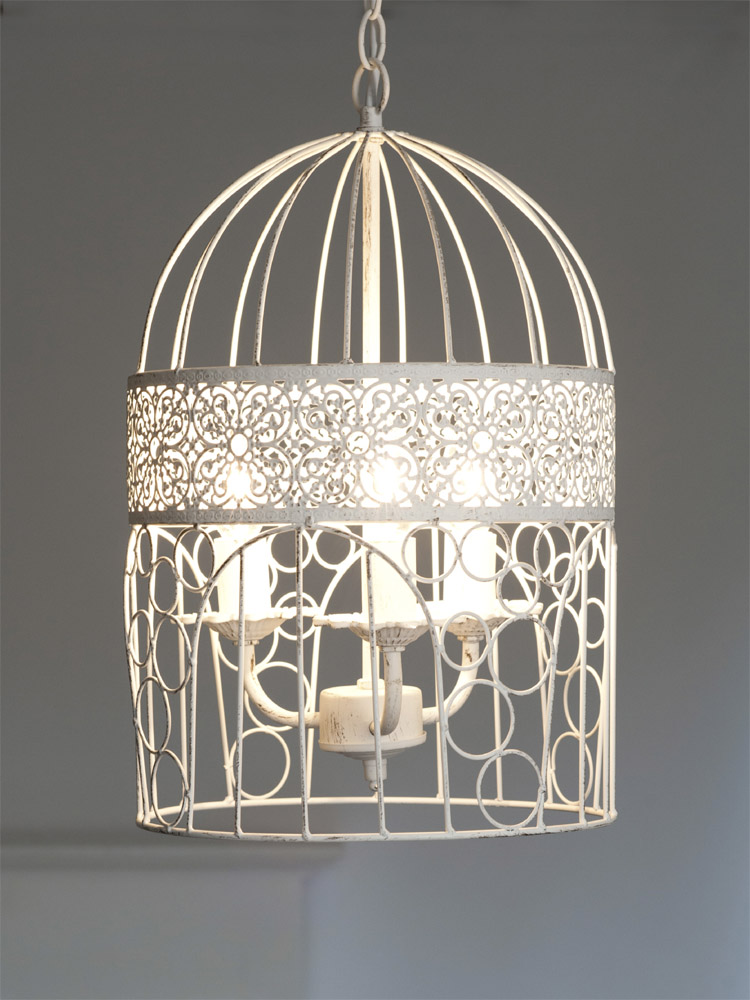 kronleuchter birdcage wei shabby chic vogelk fig h ngelampe deckenlampe. Black Bedroom Furniture Sets. Home Design Ideas