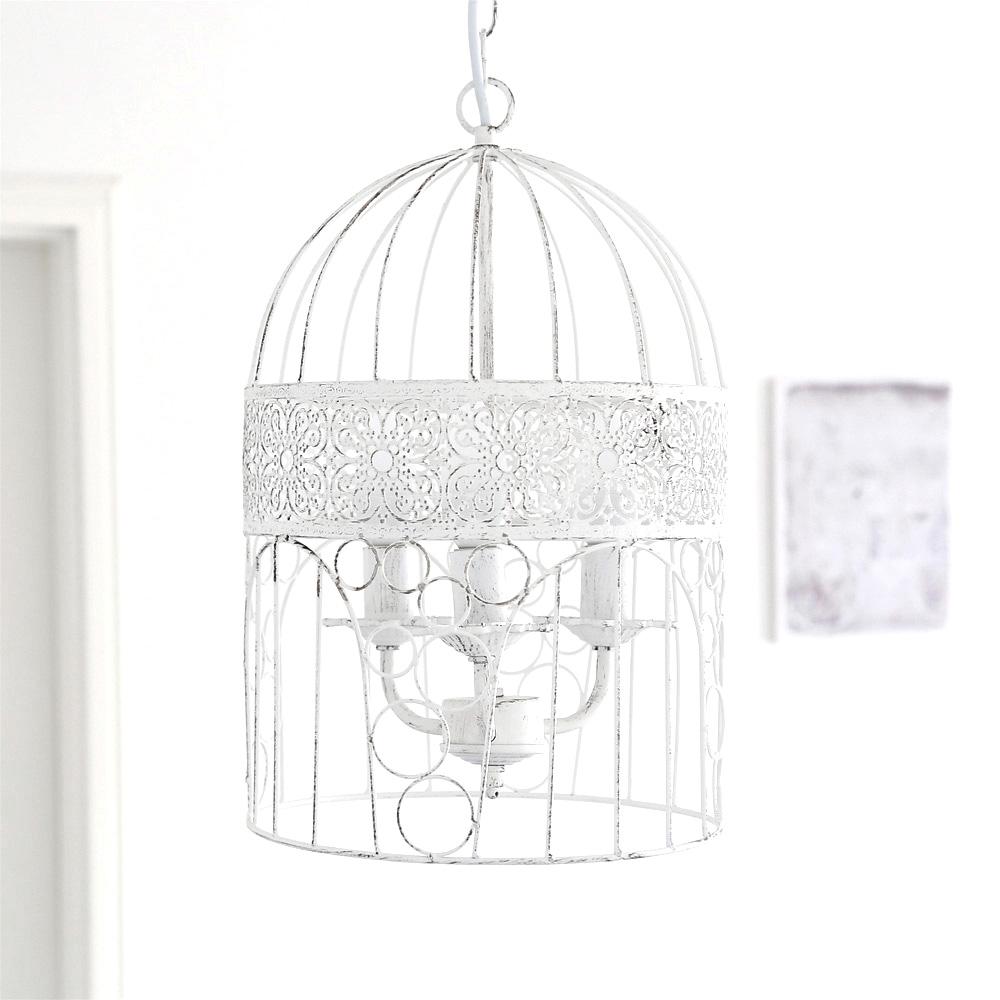kronleuchter birdcage wei shabby chic vogelk fig. Black Bedroom Furniture Sets. Home Design Ideas