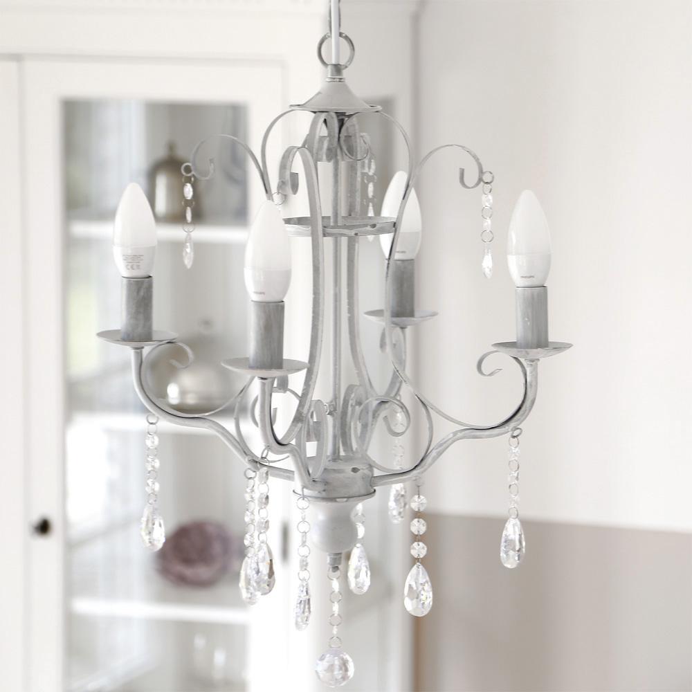 kronleuchter london grau mit kristallen 4 armig im. Black Bedroom Furniture Sets. Home Design Ideas