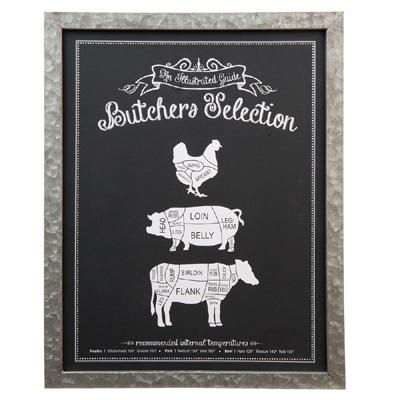 Küchenbild BUTSCHERS SELECTION schwarz silber Tafel Rind Schwein Geflügel