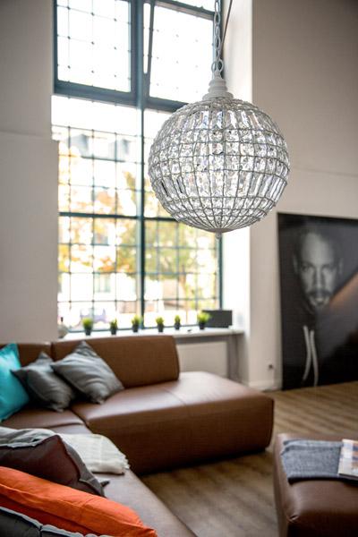 kugellampe cristal wei mit kristallen d34cm kugelleuchte h ngelampe kugel ebay. Black Bedroom Furniture Sets. Home Design Ideas