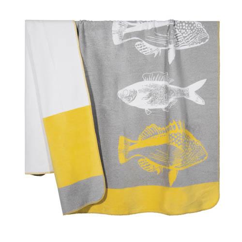 Kuscheldecke FISH grau gelb weiß mit Fischen hochwertige Sofadecke Hamptons