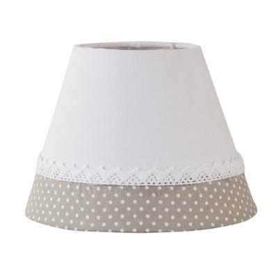 Lampenschirm MARTHA weiß grau mit Spitzenband shabby Landhaus E27