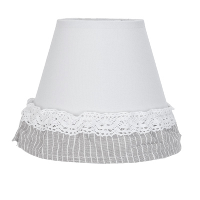 Lampenschirm STOCKHOLM weiß grau mit Spitzenband shabby Landhaus E27
