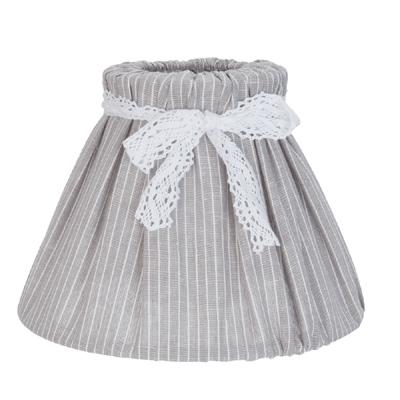 Lampenschirm KOPENHAGEN weiß grau gestreift mit Spitzenband shabby Landhaus E27