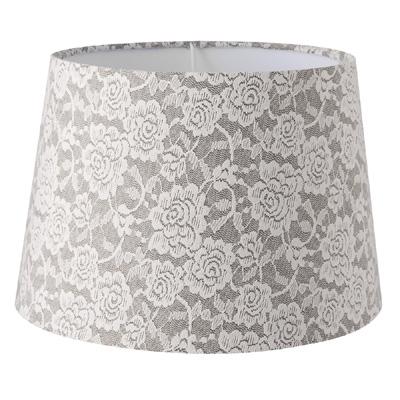Lampenschirm SARAH grau weiß mit Rosenmuster Spitzenstoff Landhaus Lampe E27