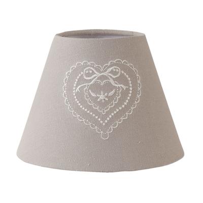 Kleiner Lampenschirm JELLE grau mit Herzstickerei Landhaus E27