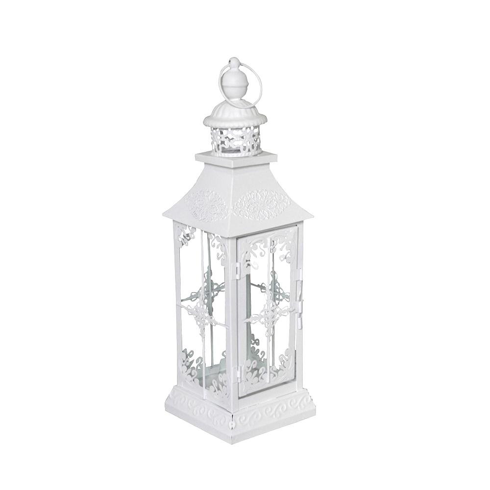 Laterne Windlicht Metall Weiß Shabby Vintage Weihnachten: Laterne CHALET Weiß Shabby Chic H40cm Mattweiß Mit