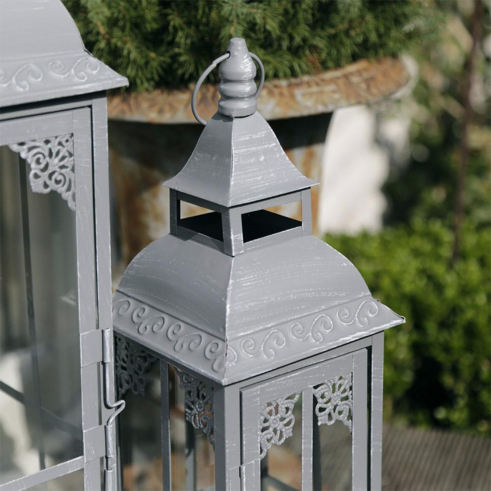 laterne stavanger grau gewischt aus metall mit zierbord re und ornament 2tlg set. Black Bedroom Furniture Sets. Home Design Ideas