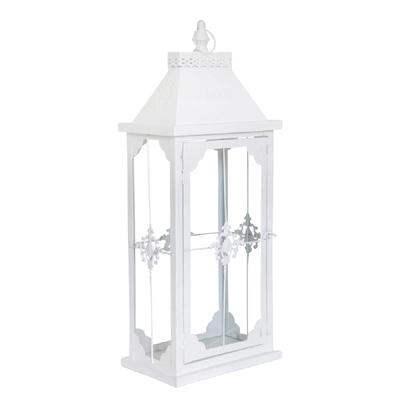 Schmale Laterne CASTLE weiß matt Landhauslaterne für die Fensterbank Ornament