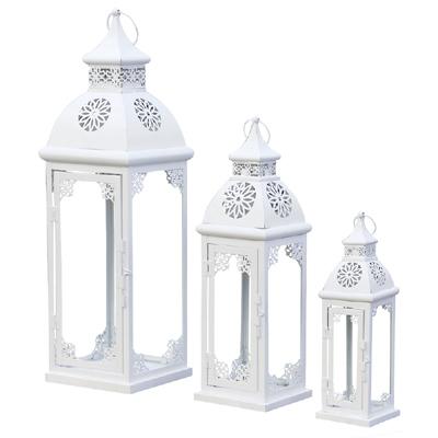 3tlg. Laterne MARA weiß aus Metall mit Verzierungen Ornamenten (3 Größen)