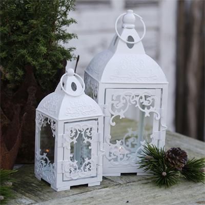2tlg. Laterne LIVIENNE weiß aus Metall Ornament Verzierung Ranken (gr.+kl.)