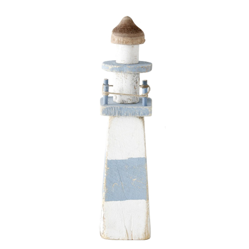 Leuchtturm SEAWASHED natur hellblau weiß Holz maritim Hamptons Deko - ECKIG