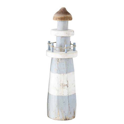 Leuchtturm SEAWASHED natur hellblau weiß Holz maritim Hamptons Deko - RUND