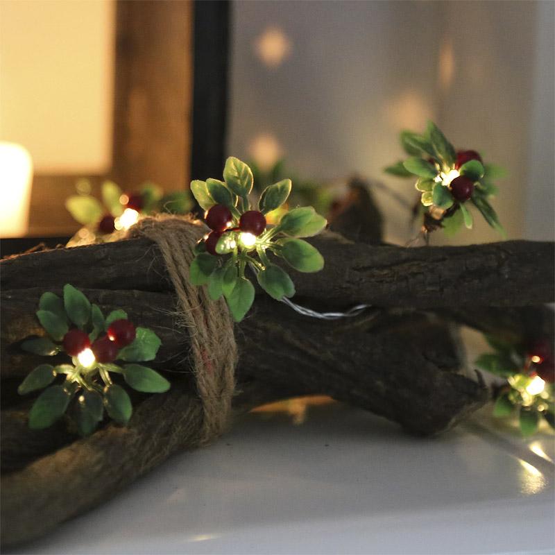 lichterkette red berry 10 led lichter rote beeren batteriebetrieben weihnachten ebay. Black Bedroom Furniture Sets. Home Design Ideas