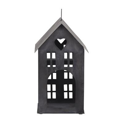 Lichthaus HJERTE schwarz aus Metall Laterne Kerzenhaus beleuchtetes Haus