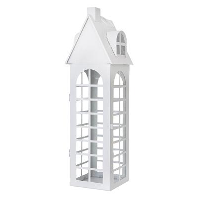 Laterne WHITE HOUSE weiß aus Metall Lichthaus beleuchtetes Haus - GROSS