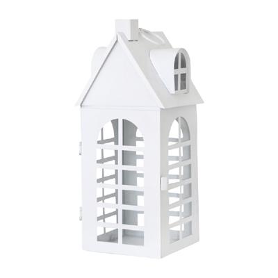 Laterne WHITE HOUSE weiß aus Metall Lichthaus beleuchtetes Haus - MITTEL