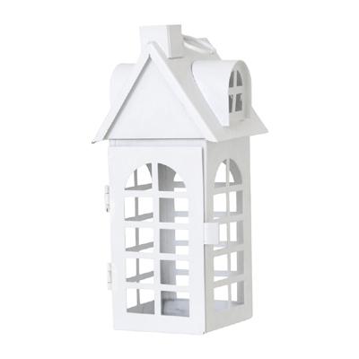 Laterne WHITE HOUSE weiß aus Metall Lichthaus beleuchtetes Haus - KLEIN
