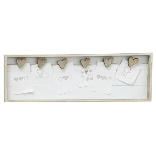 Memohalter AMY grau beige weiß aus Holz Memoboard mit Klammern - GRAUE HERZEN