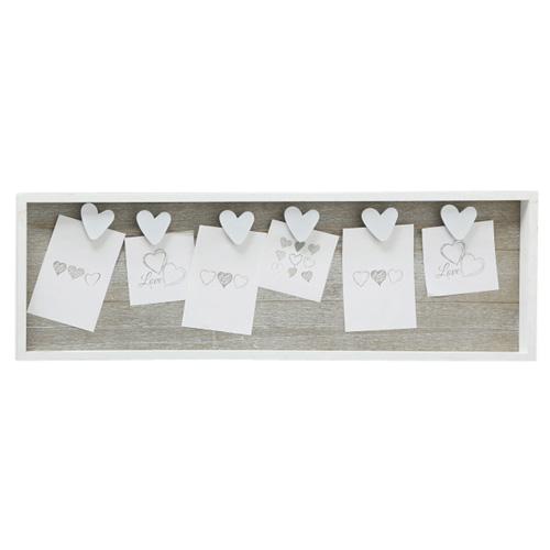 Memohalter AMY grau beige weiß aus Holz Memoboard mit Klammern - WEISSE HERZEN