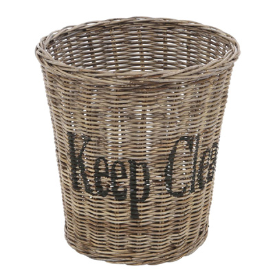 Papierkorb KEEP CLEAN aus Rattan Mülleimer Rattankorb mit Schrift Hamptons Korb