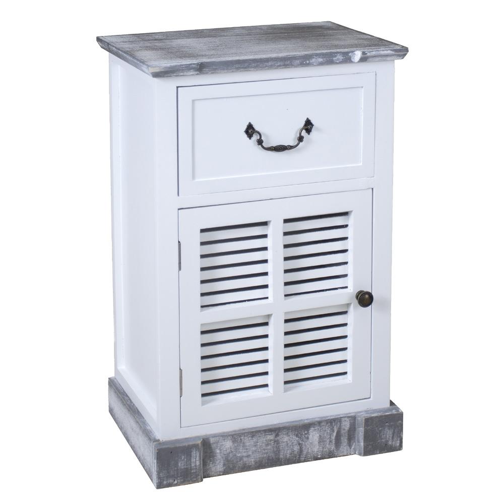 kl beistellschrank shabby grey wei grau mit lamellen shabby chic nachtschrank. Black Bedroom Furniture Sets. Home Design Ideas