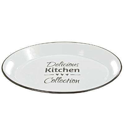 Ovales Tablett DELICIOUS KITCHEN aus Metall Emaille weiß mit schwarzer Schrift