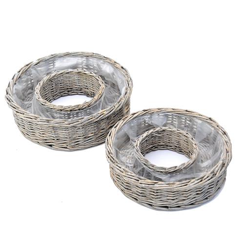 2tlg. Pflanzring CHESTER grau aus Rattan mit Folie Pflanzkorb ringförmig (gr+kl)