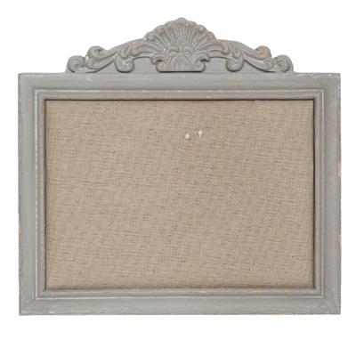 Pinnwand SHABBY antik grau aus Holz mit Ornament im Landhausstil