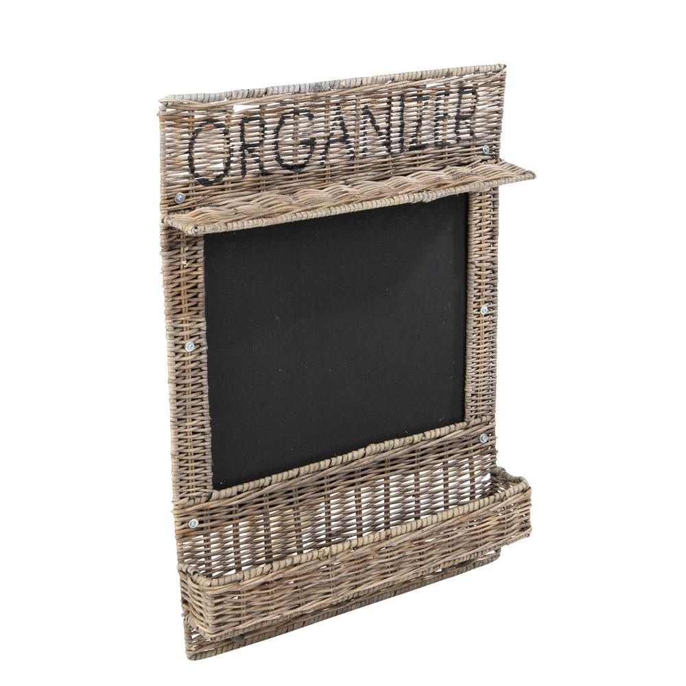 kreidetafel organizer grau braun aus rattan mit ablagen und haken memoboard. Black Bedroom Furniture Sets. Home Design Ideas