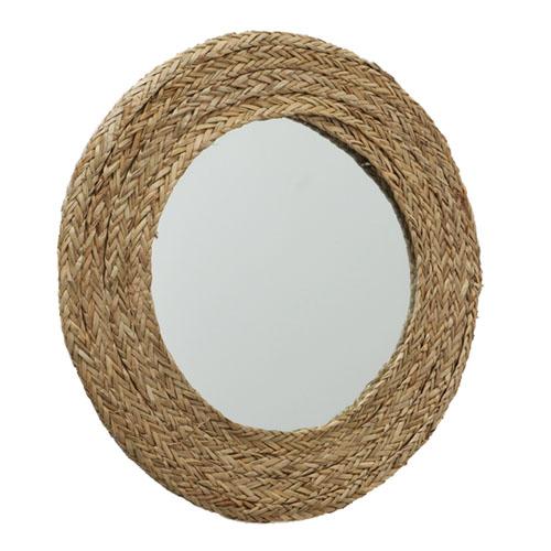 Spiegel OCEAN natur runder Wandspiegel Rahmen aus Wasserhyazinthe