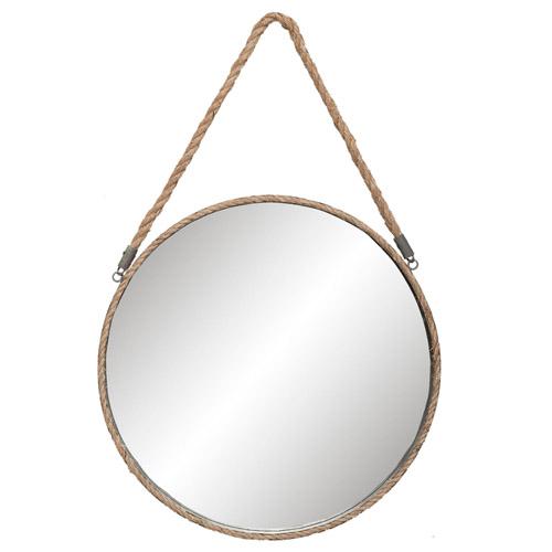Runder Spiegel SAILER grau aus Metall mit Seilaufhängung Hamptons Long Island