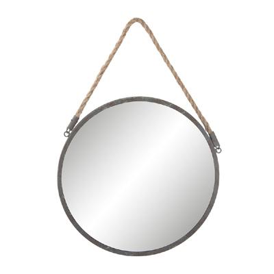 Runder Spiegel ROUND grau aus Metall mit Seilaufhängung 36cm
