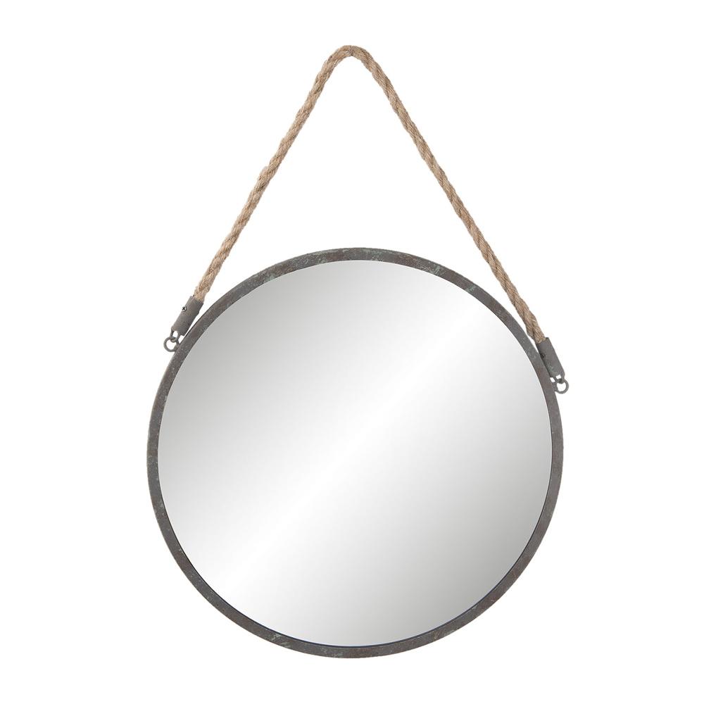 runder spiegel round grau aus metall mit seilaufh ngung 36cm maritim hamptons ebay. Black Bedroom Furniture Sets. Home Design Ideas