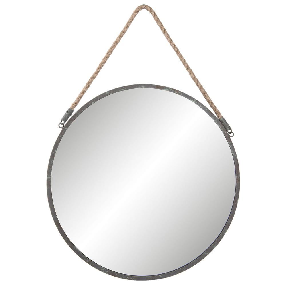 runder spiegel round grau aus metall mit seilaufh ngung 45cm. Black Bedroom Furniture Sets. Home Design Ideas