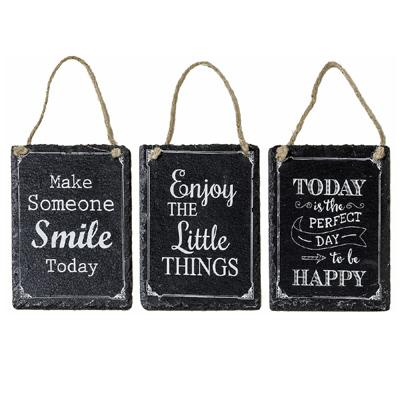 3tlg. Schild LONI schwarz weiß Schiefertafel mit Spruch zum Glücklichsein (3 Sor