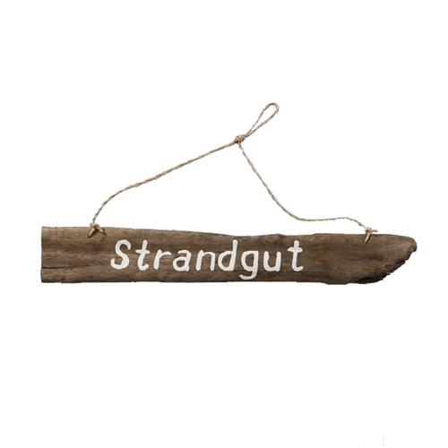 Holzschild STRANDGUT natur weiß Hängeschild aus Treibholz maritim - Motiv 2