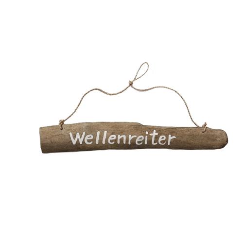 Holzschild WELLENREITER natur weiß Hängeschild aus Treibholz maritim - Motiv 1