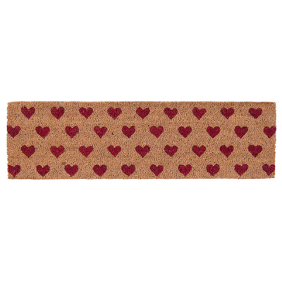Schmale Fußmatte RED HEARTS naturfarben mit roten Herzen