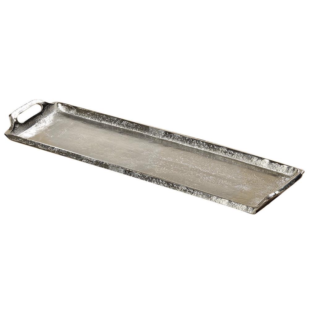 Schmales Tablett Bath Silber Aus Aluminium Metall Deko Tablett
