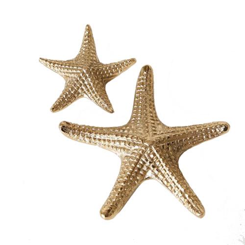 2tlg. Seestern MOE gold aus Aluminium Metall 10/16cm Hampton Deko (2 Größen)