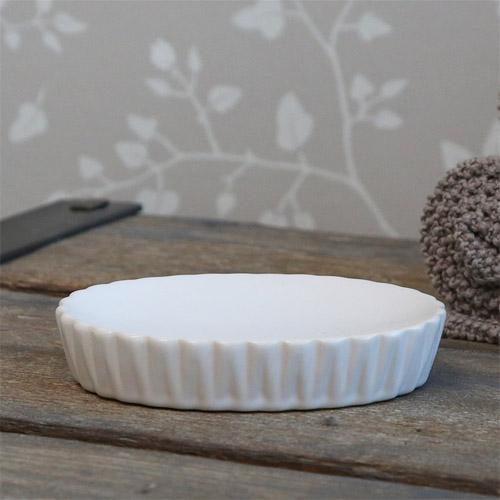 Seifenschale DIAMANT weiß aus Porzellan Bad moderner Landhausstil