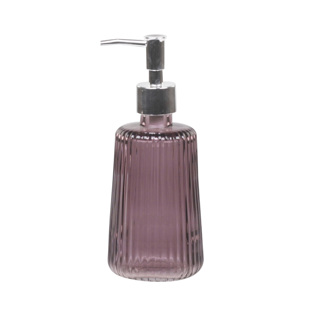 seifenspender erika aus glas mit rillenmuster rosa violett. Black Bedroom Furniture Sets. Home Design Ideas